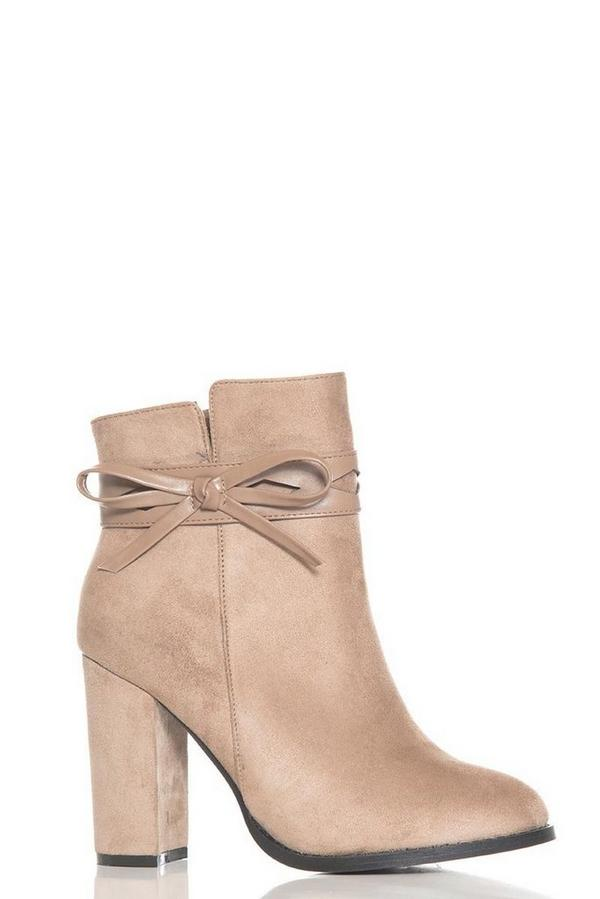 Taupe Faux Suede Bow Detail Ankle Boots