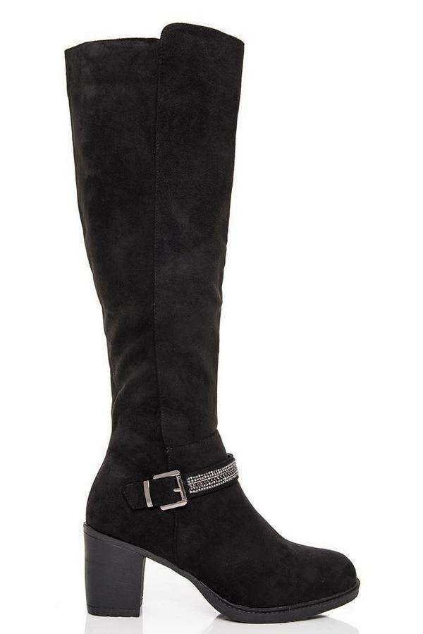Black Diamante Trim Knee High Boots