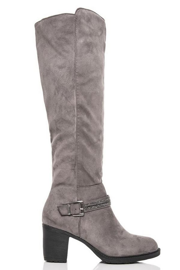 Grey Diamante Trim Knee High Boots
