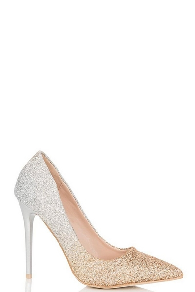 Gold And Silver Glitter Ombre Court Shoes