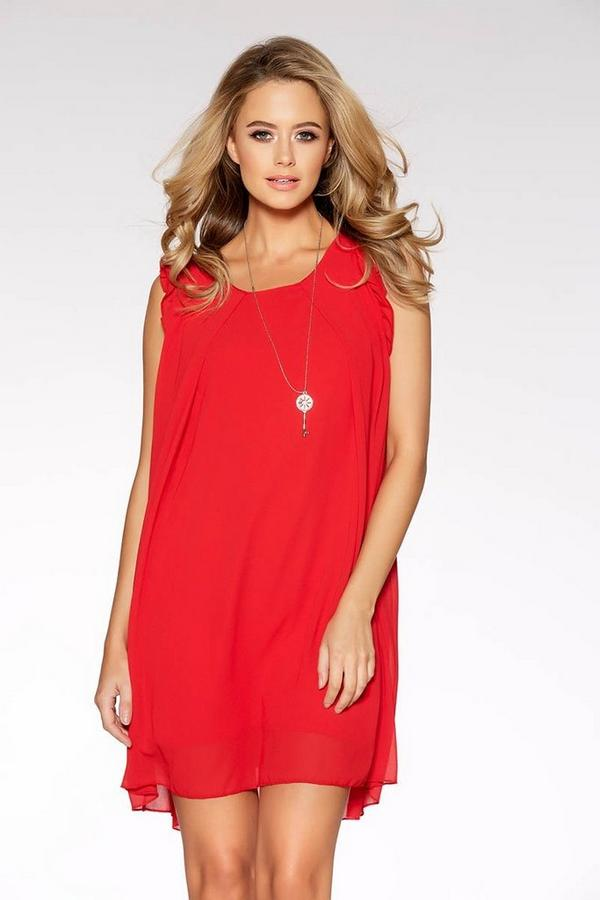 Red Frill Shoulder Necklace Tunic Dress