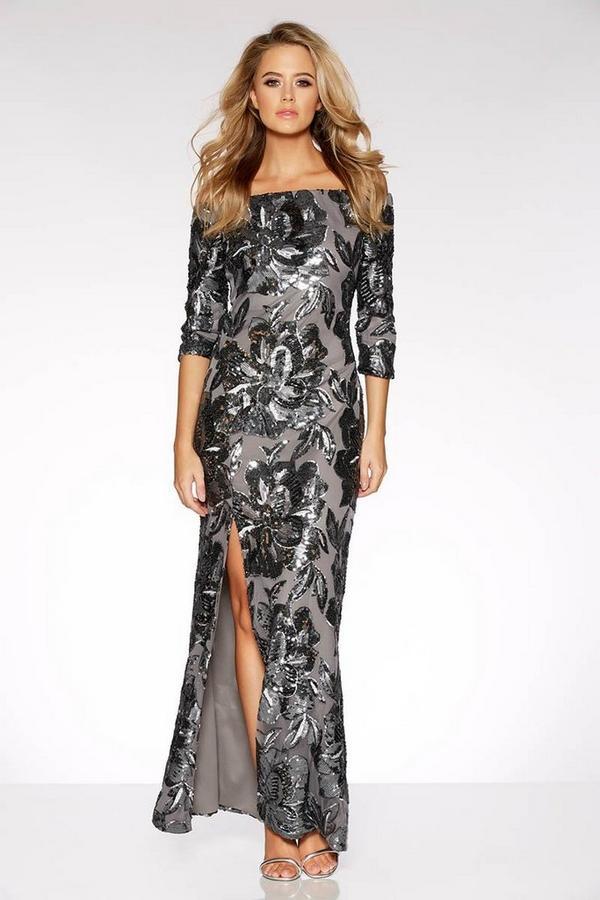 Grey Sequin Bardot Maxi Dress