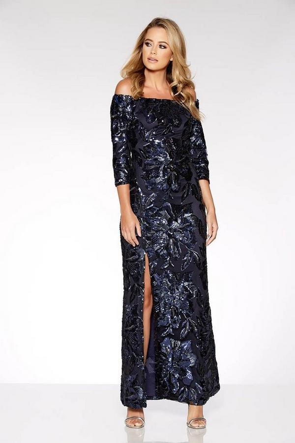 Navy Flower Sequin Bardot Maxi Dress