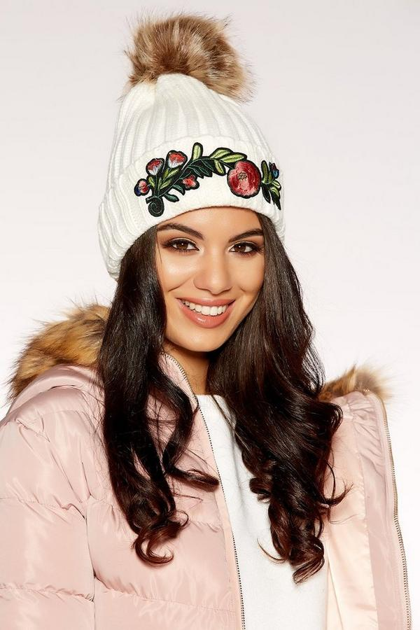 Cream Knitted Embroidered Pom Pom Hat