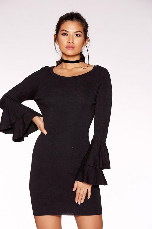 Black Knit Double Frill Sleeve Mini Dress