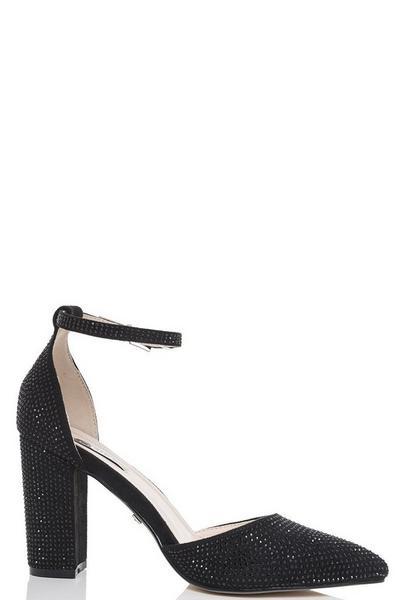 Black Diamante Pointed Toe Courts
