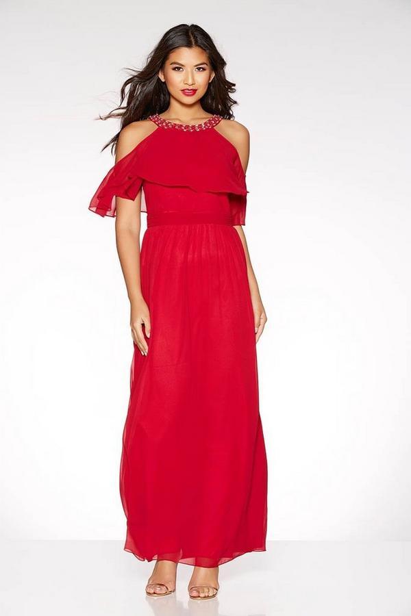 Berry Chiffon High Neck Maxi Dress