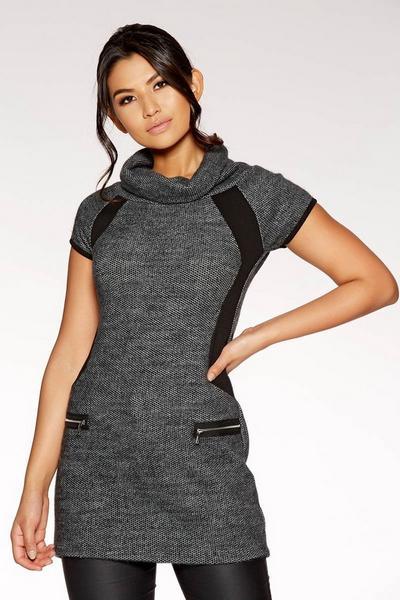 Dark Grey Knit Cap Sleeve Tunic