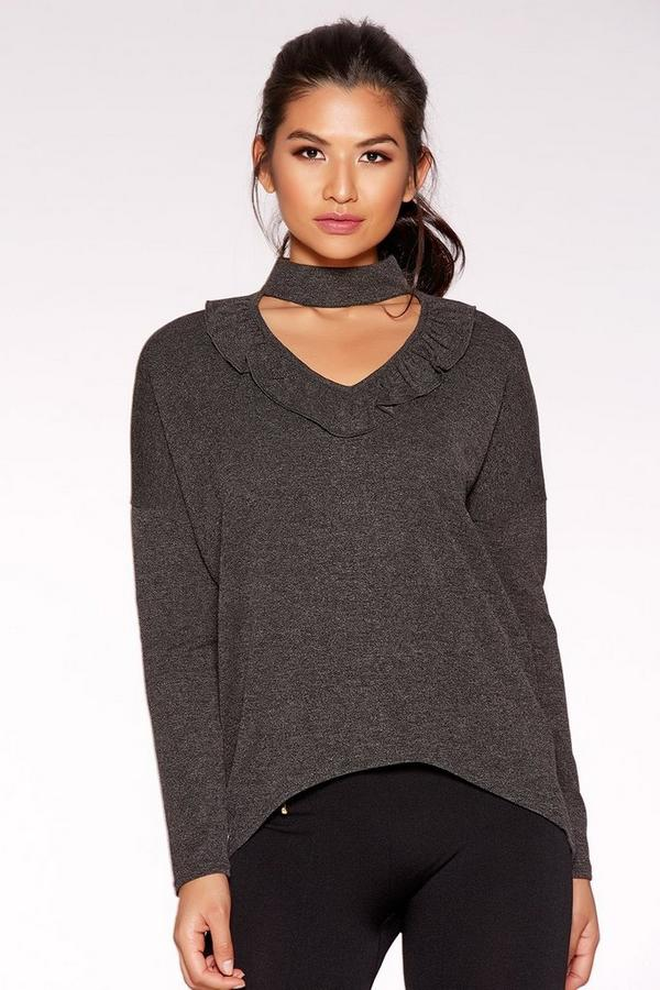 Dark Grey Light Knit Choker Detail Top