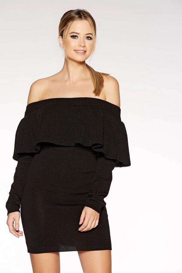 Black Chunky Knit Bardot Frill Detail Jumper Dress