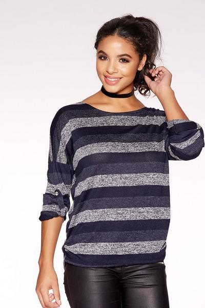Dark Grey Stripe Ruched Top