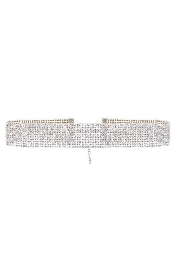 Silver Diamante Resin Choker