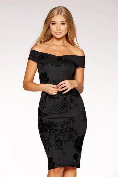 Black Glitter Flock Floral Print Bardot Midi Dress