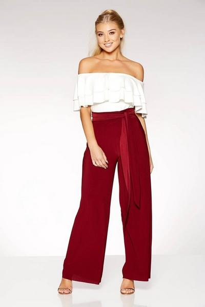 Berry Pleated Tie Waist Palazzo Trousers