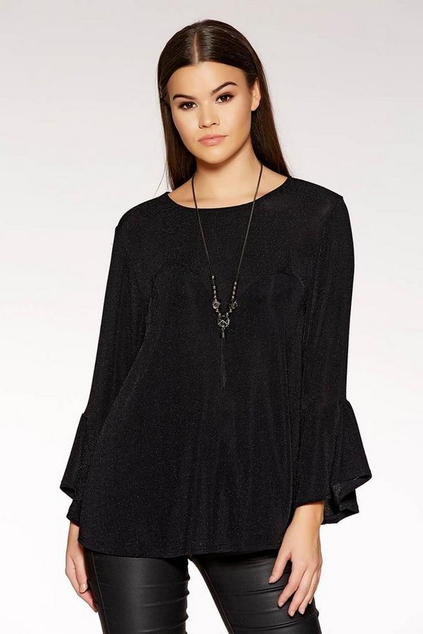 Black Glitter Frill Necklace Top