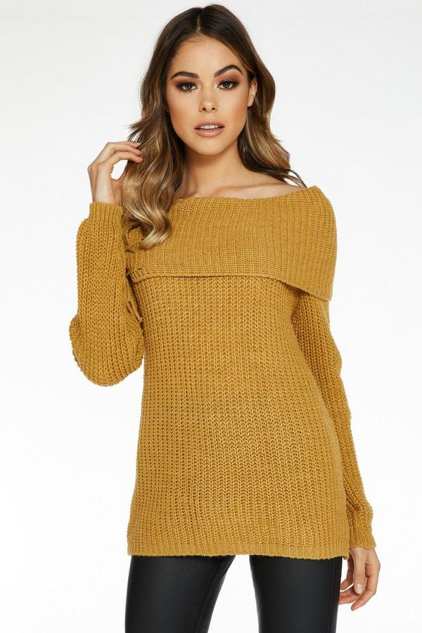 Mustard Bardot Lace Up Jumper