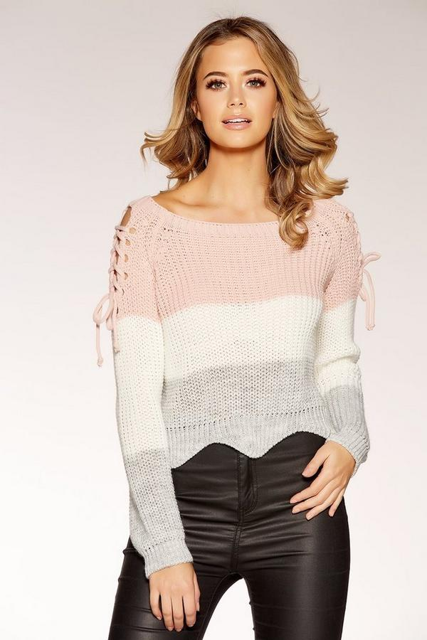 Pink Stripe Knitted Lace up Top