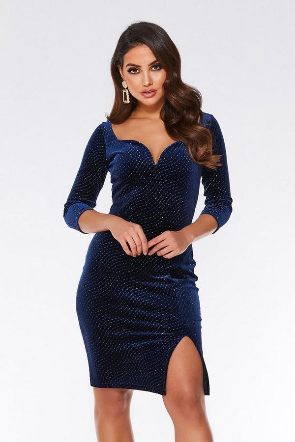 Navy Velvet Glitter V Bar Bodycon Dress