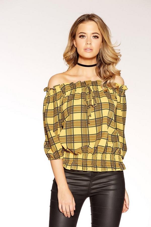 Mustard And Black Check Bardot Top