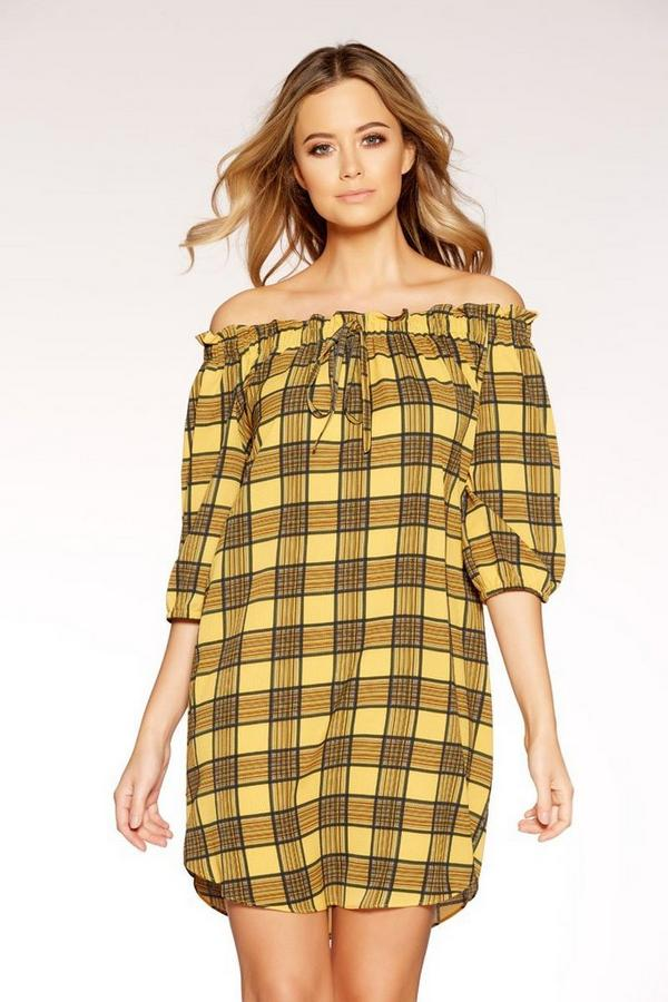 Mustard And Black Check 3/4 Sleeve Tunic Dress