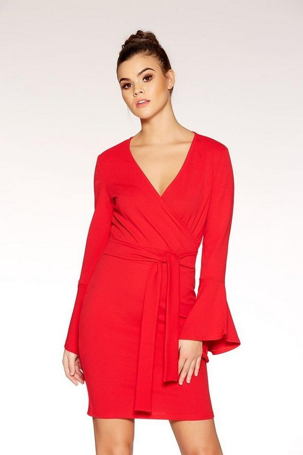 Red Crepe Wrap Front Frill Sleeve Dress