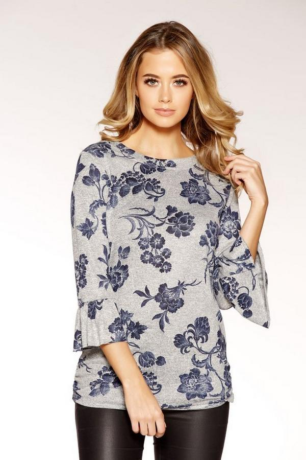 Grey And Blue Light Knit Floral Top