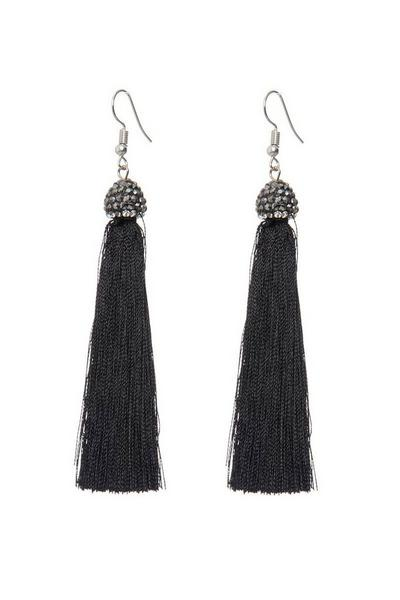 Black Facet Tassel Earrings
