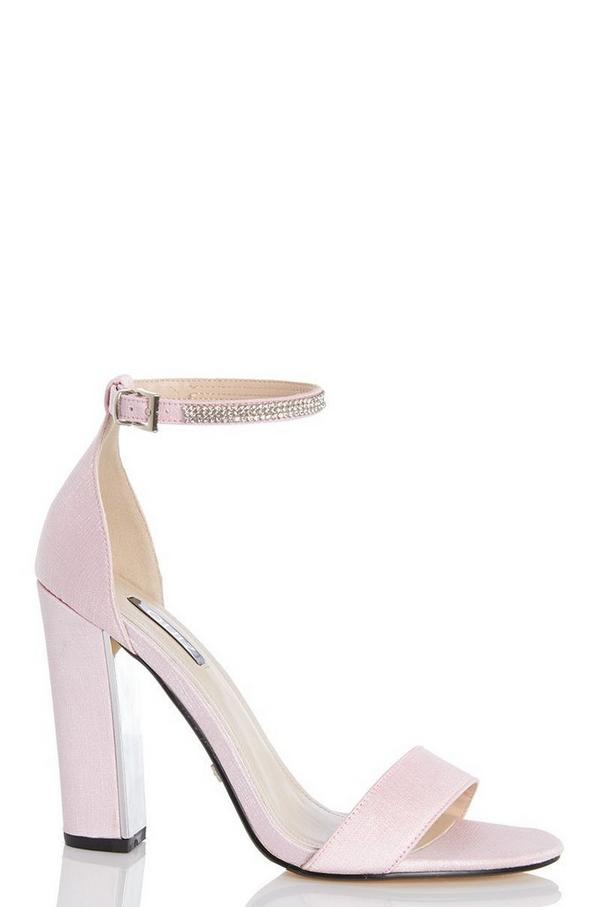 Pink Diamante Ankle Sandals