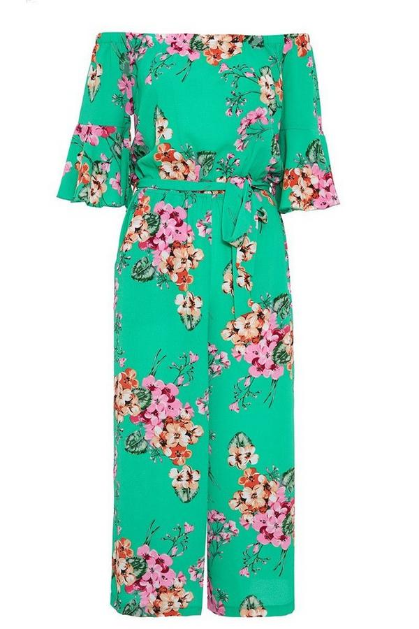 Green And Pink Floral Print Frill Sleeve Culotte Jumpsuit
