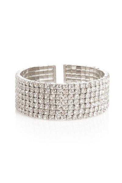 Silver Diamante Cuff