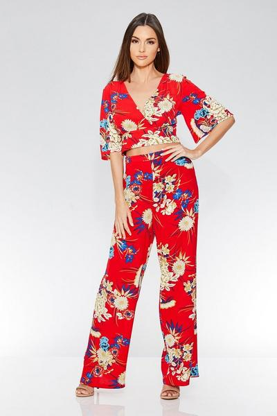 Red Floral Print Palazzo Trousers
