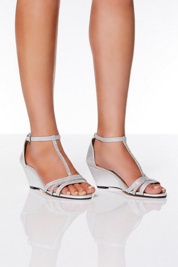 Silver Diamante Strap Wedges