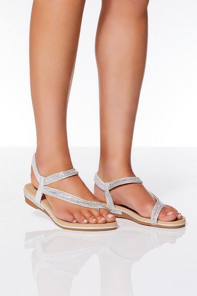 Silver Diamante Slant Strap Flat Sandals