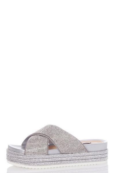 Silver Diamante Strap Flatform Sandals