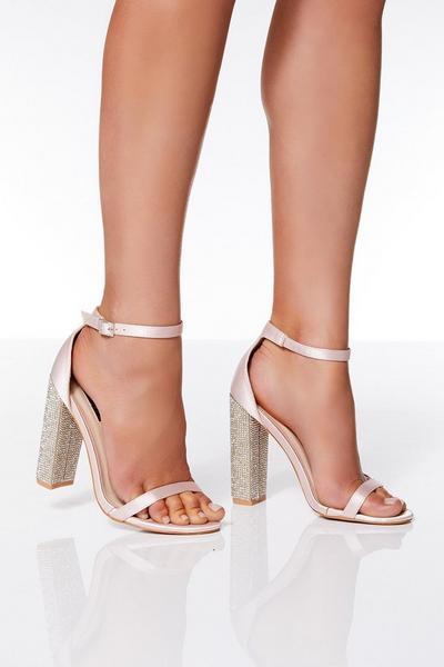 Pink Satin Diamante Heel Sandals