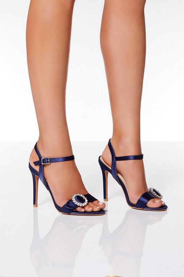 Navy Satin Jewel Buckle Sandals