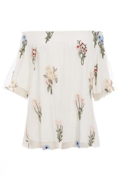 White Mesh Bardot Floral Top