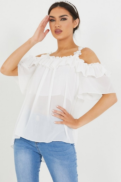 Cream Ruffle Cold Shoulder Lace Top