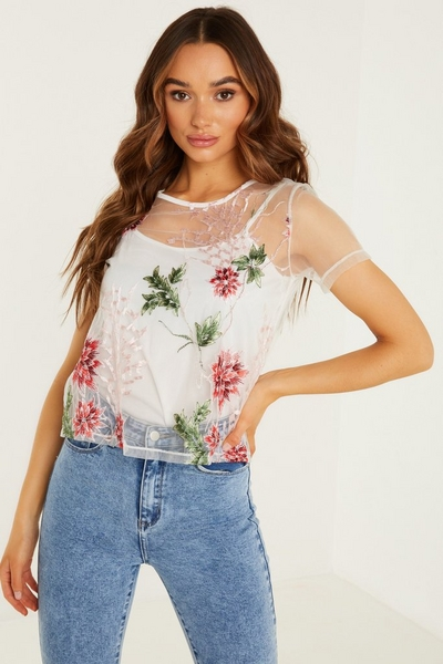 White Mesh Embroidered Short Top
