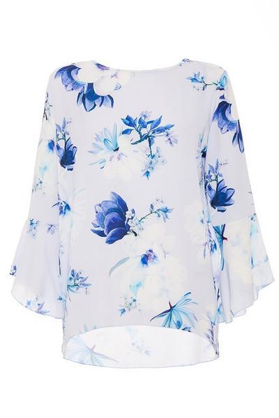 Pale Blue Floral Printed Top