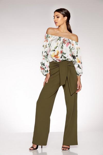 Khaki Crepe Wide Leg Trousers