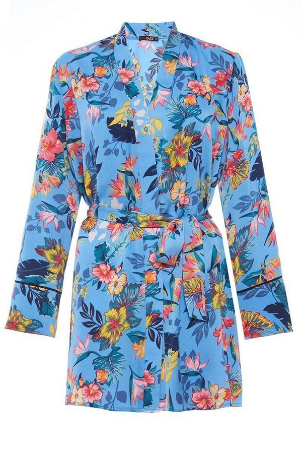 Blue Satin Floral Print Kimono