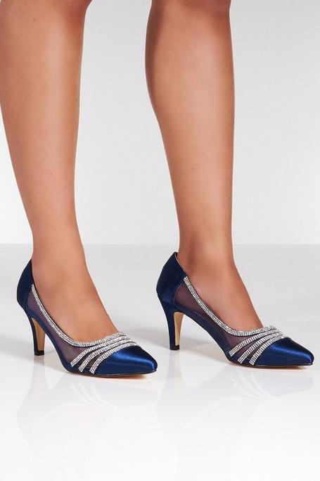 Navy Satin Point Toe Court Shoes