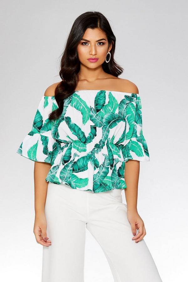 Green And White Palm Bardot Top