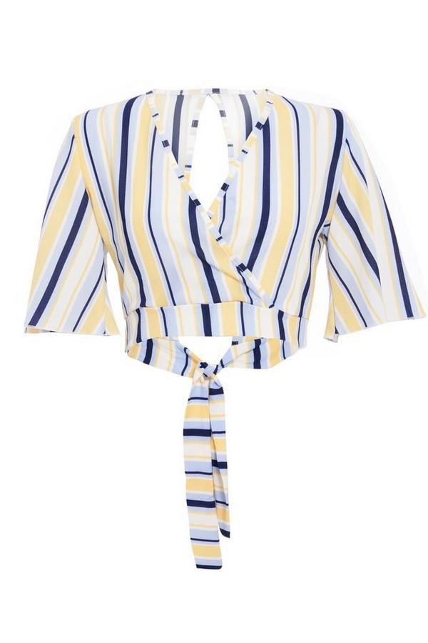 Cream Lemon And Blue Stripe Crop Top