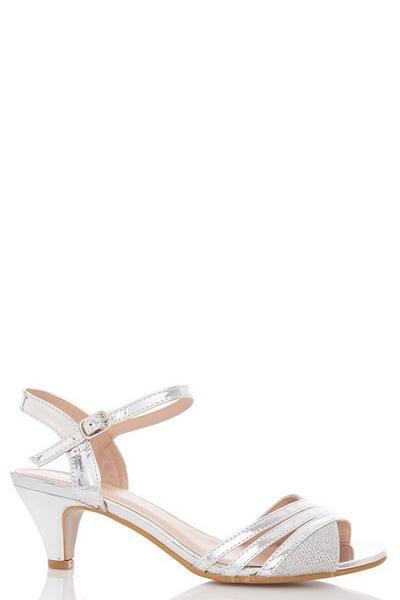 Silver Metallic Strap Low Heel Sandal