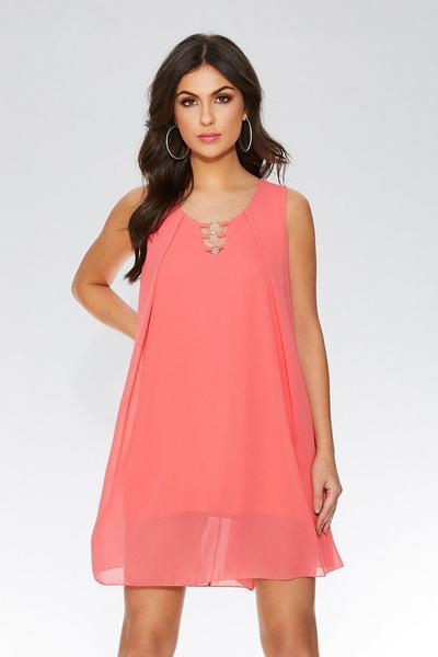 Coral Chiffon Sleeveless Tunic Dress