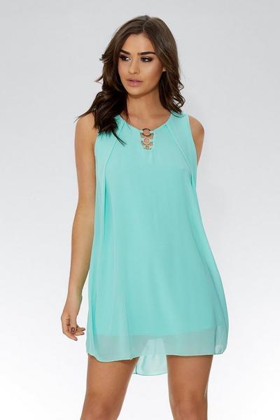 Aqua Chiffon Sleeveless Tunic Dress