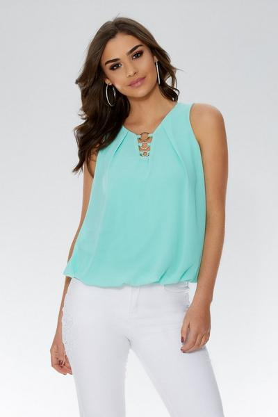 Aqua Chiffon Sleeveless Bubble Hem Top
