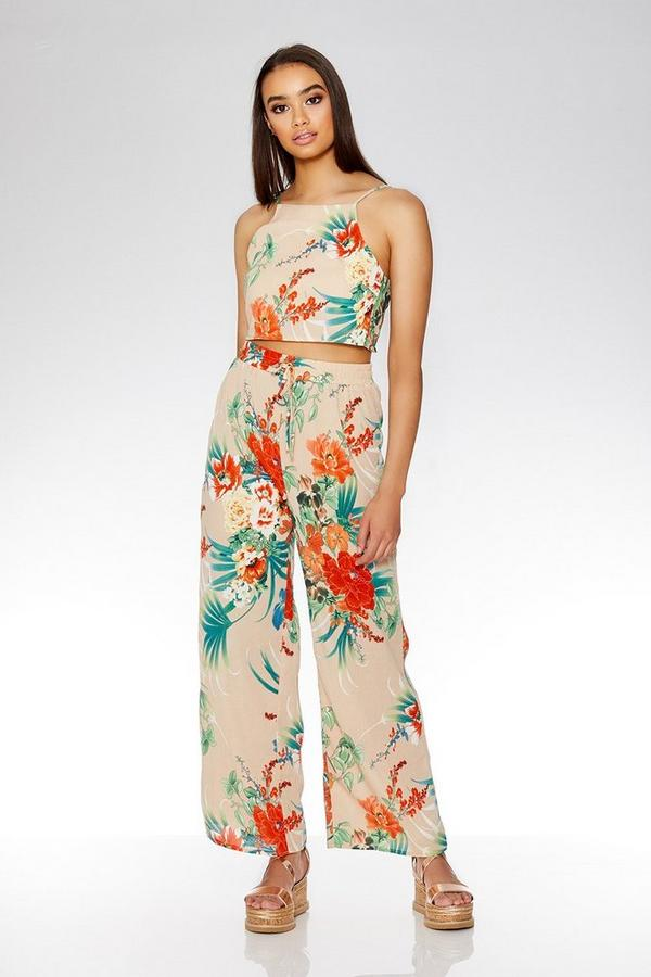 Stone And Orange Wide Leg Floral Trousers